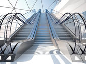 Escalator in futuristic building — Stock Photo