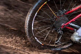 Rear wheel red mountain bike — Stock Photo