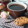 Fresh breakfast, coffee and cookies - Stock Photo