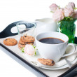 Breakfast, coffee and cookies on a tray — Stock Photo