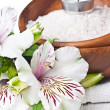 Resources for spa, white towel and flower — Stock Photo