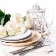 Stockfoto: Table setting with beige roses