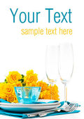 Table setting with yellow roses, ready template — Stock Photo