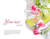 Festive spring table setting, ready template — Stock Photo
