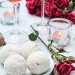 Coconut cakes, flowers and rose wine — Stock Photo #18865363