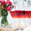Rose wine in glasses, home party — Stock Photo