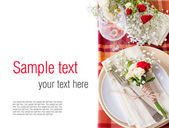 Festive table setting with flowers and vintage crockery, ready t — Stock Photo
