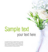 White roses on a white tulle, ready template — Stock Photo