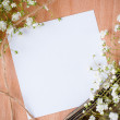Background with white flowers, antique tray  — Стоковая фотография