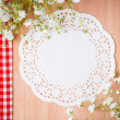 Hand-made background with white napkin - Stock Photo