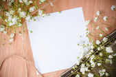 Background with white flowers, antique tray — Stock Photo