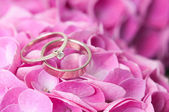 pair of wedding rings on flowers — 图库照片