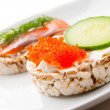Appetizers with red fish and red caviar  — Stock Photo