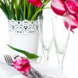 Table setting with pink tulips and vintage wine glasses — Stock Photo #25025455
