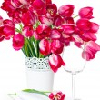 Holiday table setting with pink tulips — Stok fotoğraf #25025501