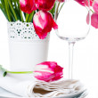 Holiday table setting with pink tulips — ストック写真