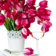 Holiday table setting with pink tulips — Stok fotoğraf #25025555
