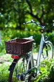 Elegant ladies' city bike with a basket — Foto de Stock