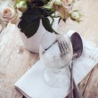 Vintage table setting with roses — Stock Photo #28951923
