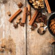 Hot mulled wine, spices and nuts — Stock Photo #32326499