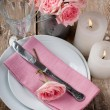 Vintage festive table setting with pink roses — Photo