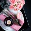 table setting on black background — Foto de Stock