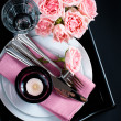 table setting on black background — 图库照片