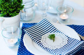 Table setting in navy blue tones — Stock Photo