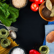 Food background on black — Stock Photo