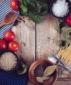 Food background on wooden board — Stock Photo