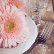 Vintage dining table setting — Stock Photo