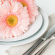 Table setting with pink gerberas — Lizenzfreies Foto
