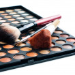 Brushes and eyeshadow palette — Stock Photo