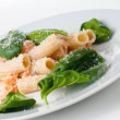 Stock Photo: Pastwith salmon and spinach