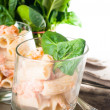 Pasta with salmon and spinach — Stock Photo