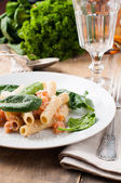 Rigatoni with seafood — Stock Photo