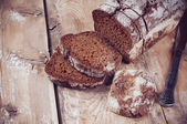Rustic wholemeal rye bread — Stock Photo