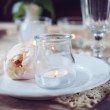Vintage table setting with beige rose — Stock Photo