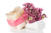 Products for spa in pink — Stock Photo