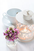 Pink flowers and candle lantern — Stockfoto