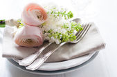 Wedding elegant dining table setting — Stock Photo