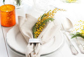 Spring festive dining table setting — Stock Photo