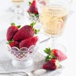 Strawberries and wine — Stock Photo