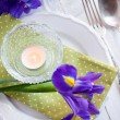 Table setting with purple iris flowers — Stock Photo #43709901