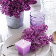 Table setting with lilac flowers — Stock Photo #45245451