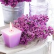 Table setting with lilac flowers — Stock Photo #45245559