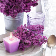 Table setting with lilac flowers — Stock Photo #45245611