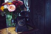Vintage black rotary phone — Stock Photo