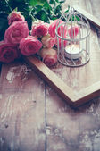 Vintage decor with roses — Stock Photo
