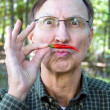 Man Chilli Pepper Mustache — Stock Photo